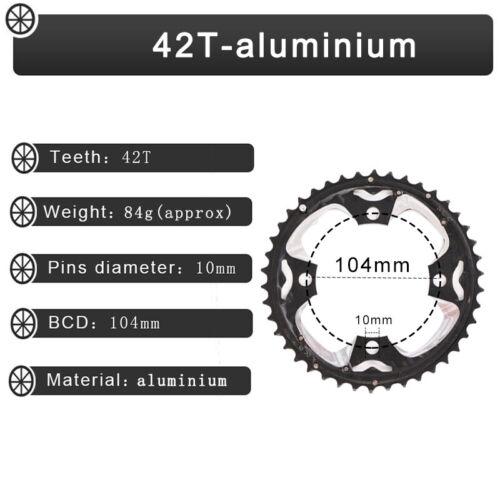 104//64BCDmm Double//Triple Speed 24//26//32//38//42T Chainring Mountain Bike Sprocket