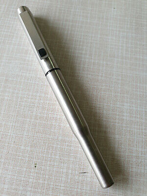 Parker 25 Fountain Pen  Stainless Steel  Medium Pt /& Converter New In Box
