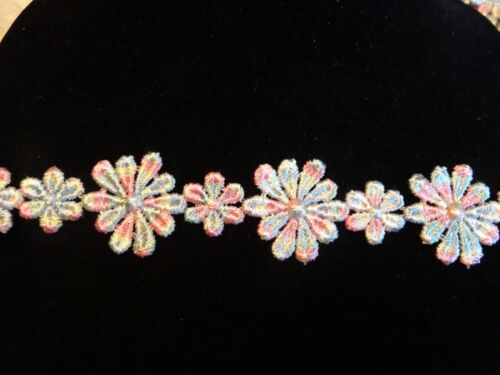 "MultiColor Venise Lace Daisy 1"" Wide 10 yds for $17.99"
