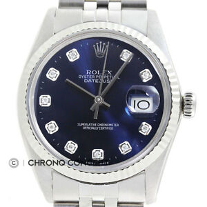Mens-Rolex-Datejust-Blue-Diamond-Dial-18K-White-Gold-Stainless-Steel-Watch