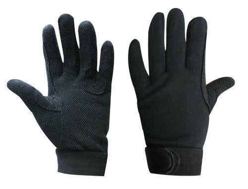 Black English Western Riding Breathable Cotton Gloves Pebble Grip Palms EX Large