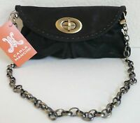 Carla Mancini Sidney Clutch Purse Bag Black Shimmer Leather Removable Strap