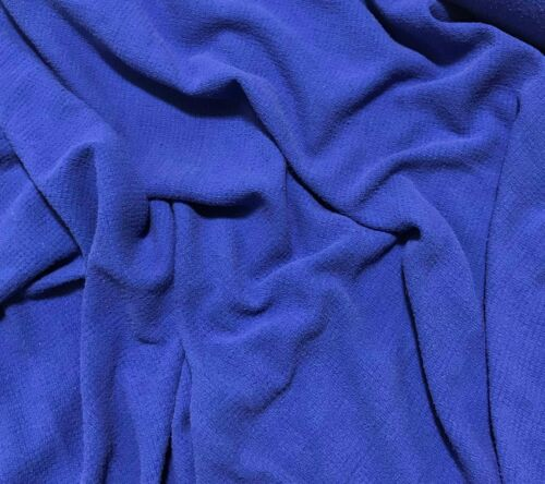 ROYAL BLUE Hand Dyed Raw Silk Squares Weave Check NOIL Fabric