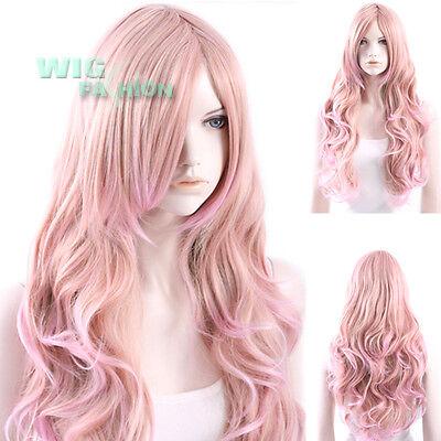 70 cm Heat Resistant Long Curly Milkshake Pink Fashion Hair Wig