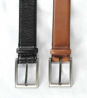 "Mens 35mm Black or Tan Full Grain Effect  Recon Leather Suit Belt  32""-56"""
