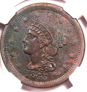1843 Braided Hair Large Cent 1C - NGC Uncirculated - Rare Date MS BU Penny
