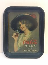 Vtg Regular Size Coca-Cola Coke Green Tray Vintage Lady With A Hat On