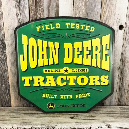 "John Deere Tractors Moline 12/"" Embossed Metal Tin Sign Vintage Style Farm Barn"