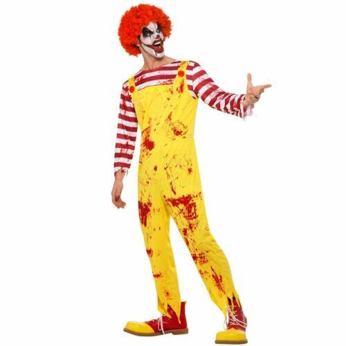 Mens Scary Fast Food Killer Clown Blood Ronald Halloween Fancy Dress Costume