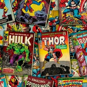 Springs Marvel Comics 51199 Packed Marvel Comic Books BTY Cotton Fabric