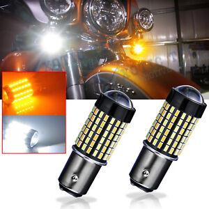 2X-Switchback-Dual-Color-1157-LED-Bulb-Turn-Signal-DRL-Light-For-Harley-Davidson