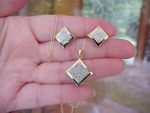 Image Is Loading 10k Solid Gold Genuine Micro Diamond Necklace Pendant
