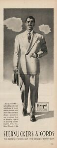 1944 Haspel Brothers New Orleans LA Seersucker Suit Mens Fashion Clothes WWII Ad