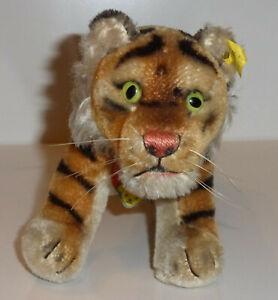 Steiff-Tiger-39cm-1317-0-Baerenkopfschild-Schild-Fahne-Knopf-sehr-guter-Zustand