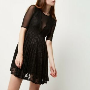 RRP-50-NEW-River-island-Black-mesh-and-lace-skater-dress-SIZES-8-16