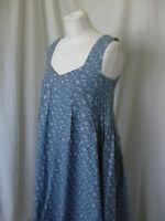 LAURA ASHLEY BLUE FLORAL LONG COTTON BOHO HIPPIE DRESS UK 8-10 US 4-6