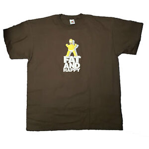 The-Simpsons-Fat-and-Happy-Brown-Homer-Simpson-New-OFFICIAL-Unisex-T-Shirt-4B