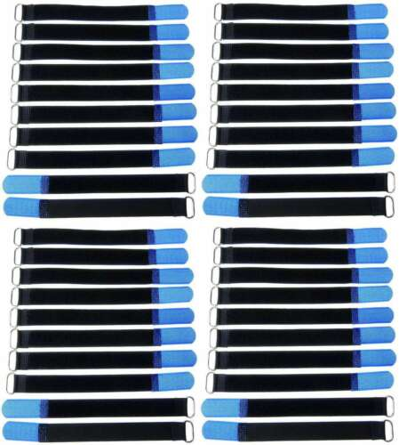 40x Klettkabelbinder 200 x 20 mm blau Kabelbinder Kabel Klettband Kabelklett Öse