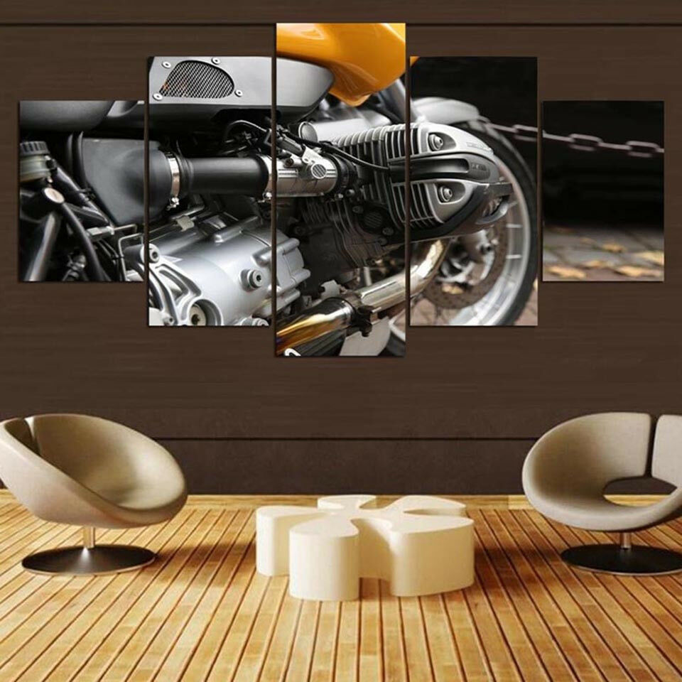 Vintage Motorcycle Engine Framed Poster 5 Panel Canvas Print Wall Art Home Decor