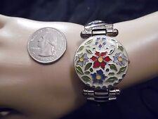 Ladies Gruen Brand Enameled Bangle Bracelet Statement Watch
