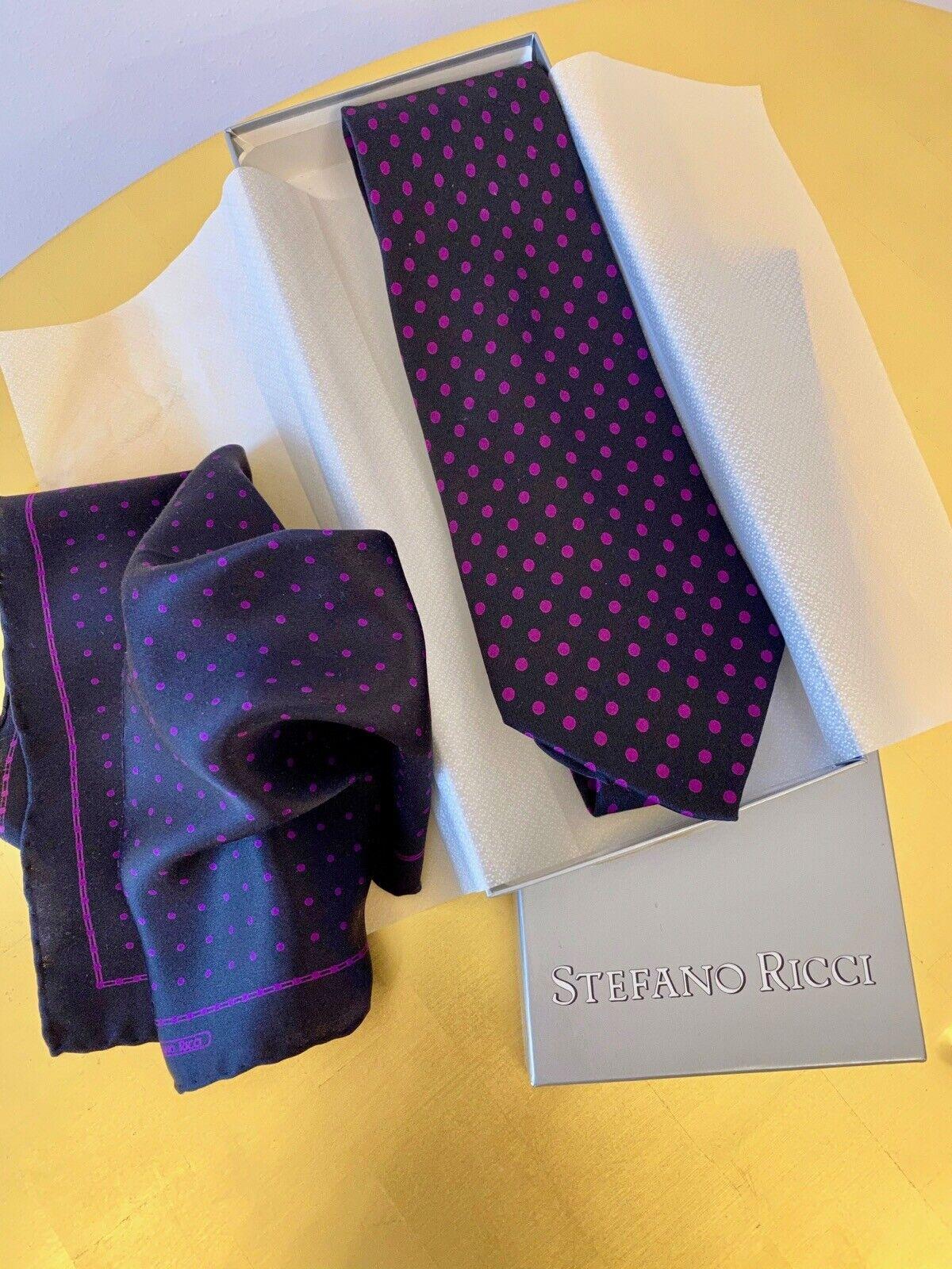 ♥ Stefano Ricci Set Original Verpackung Krawatte + Einstecktuch Seide WIE NEU ♥
