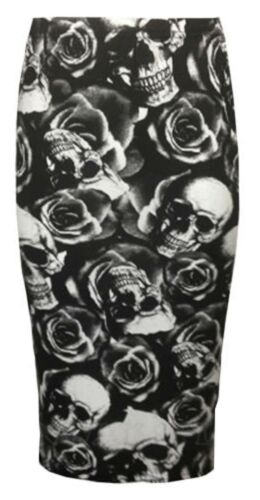 Womens Ladies Bodycon Tartan Army Skull Calf Length Tube Midi Pencil Skirt 8-14