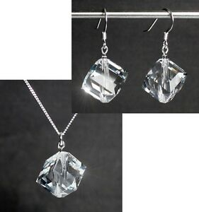 Ehrlich Silber 925 Schmuck-set Mit Swarovski® Kristallen Würfel Kette Ohrringe In Box