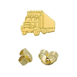 1 hombres camiones camiones pendientes camión señores Truck arete real oro 585 nuevo