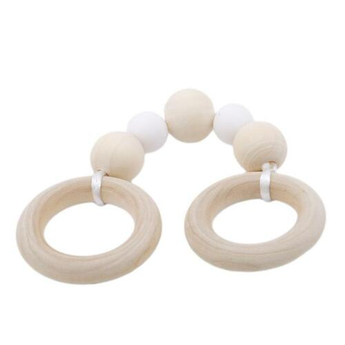 Baby Teether Wood Ring Silicone Beads Wooden Rattle Baby Play Toys 6L