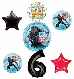 Black-Panther-Party-Supplies-6th-Birthday-Balloon-Bouquet-Decorations