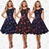 Womens 50s 60s Black Vintage Housewife Pin Up Rockabilly Party Dress Plus Size