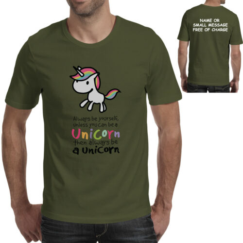Cute Unicorn Be Yourself Workout T-Shirt Gym Gift Tee Mens Graphic Printed