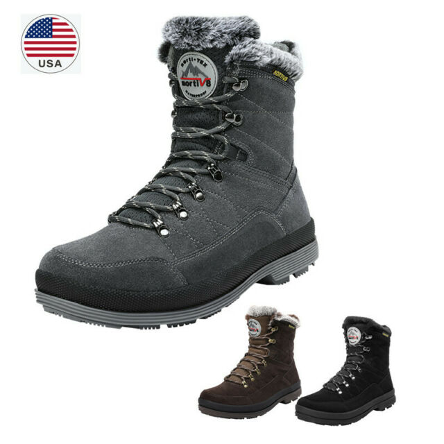 US Men's Snow Boots Suede Leather Comfort Warm Cold Weather Winter Work  Boots
