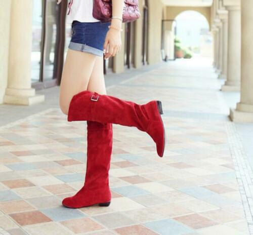 Ladies Suede Fabric Low Heel Flats Pull On Knee High Riding Boots Cosplay Shoes