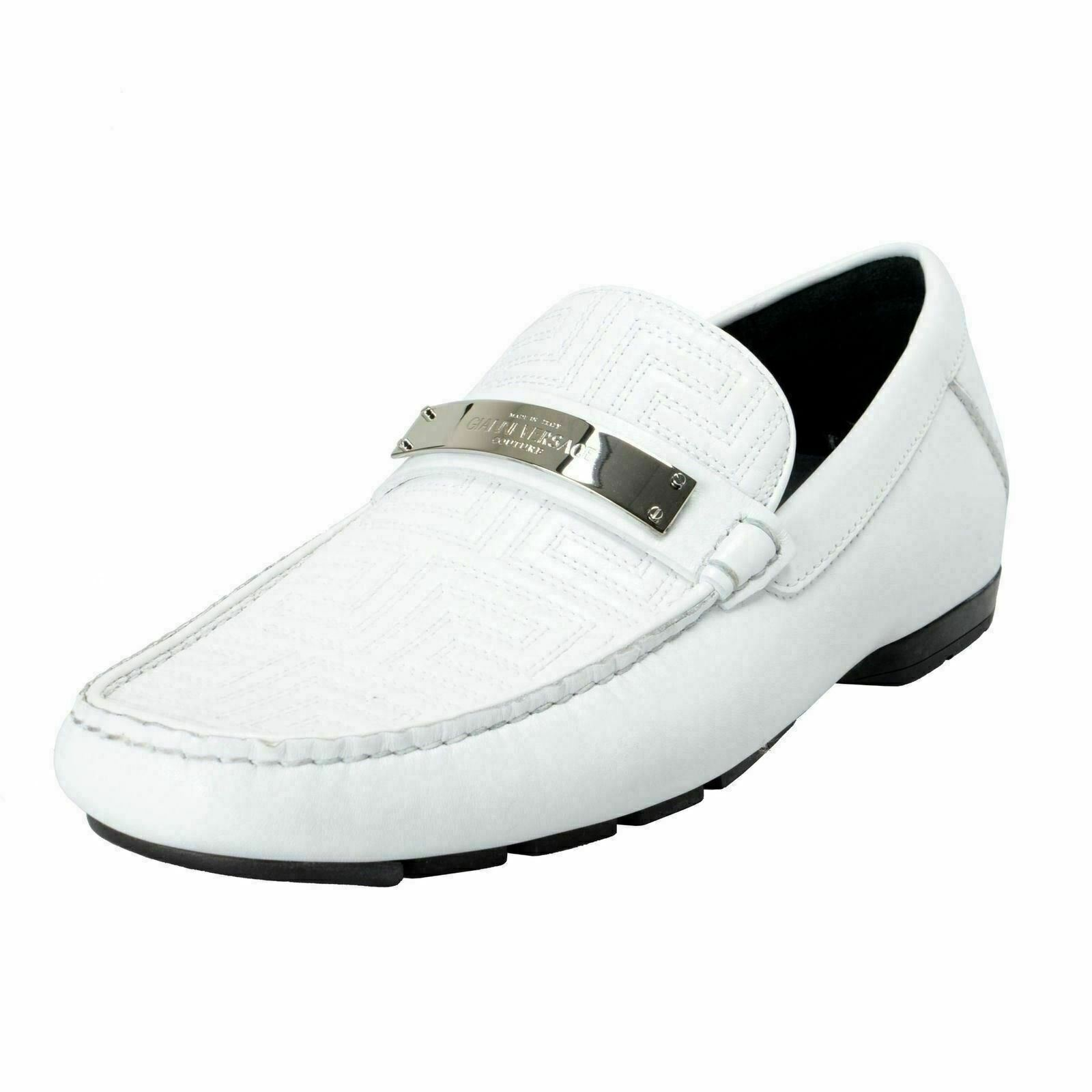 Gianni Versace Homme Blanc Mocassins Chaussures à Enfiler Us 6.5 It 39.5