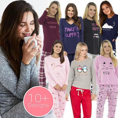 Womens Ladies Warm Lounge wear Pyjama Set  Bottoms Pjs Pants Top Short Sleeve