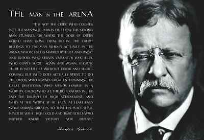 American Flag Theodore Teddy Roosevelt the Man in the Arena Quote 13x19 Poster