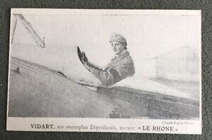 CPA-VIDART-sur-Monoplan-Deperdussin-Moteur-Le-Rhone-Avion