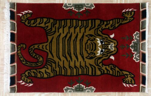 Tibetan//Nepali 2x3 2.5x4.5 3x6 Carpet Rug Tibet Nepal Nepalese Tiger Buddhist