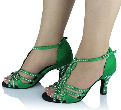 Green Satin Diamante Ballroom Latin SALSA Dance Shoes 3,4,4.5,5,5.5,6,6.5,7,7.5