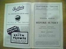 Shaftesbury Theatre Programme- Werner Krauss in BEFORE SUNSET by M Malleson