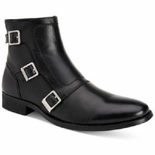 botas para Hombre Cuero Hebilla De Tobillo De Triple Hecho a Mano monje Ropa Formal Informal Zapato Nuevo