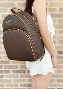 Michael-Kors-Abbey-Large-Backpack-Brown-MK-Signature-PVC-Leather-2019