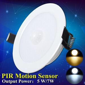 5w 7w led panel recessed light pir motion sensor downlight round image is loading 5w 7w led panel recessed light pir motion mozeypictures Choice Image