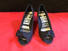 Women's Shoes American Eagle Jennar Denim Fabric Peep Toe, Cork Wedge Size 7