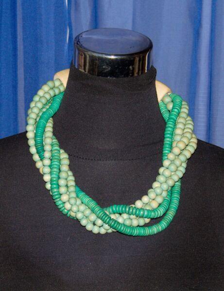 Halskette 6-reihig Aus Holzperlen Türkis-grün