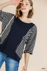 Umgee-Navy-Blue-Striped-Short-Sleeve-Knit-Tunic-Top