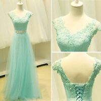 Stock New Mint Green Bridesmaid Dress Tulle Lace Formal Party Evening Prom Dress