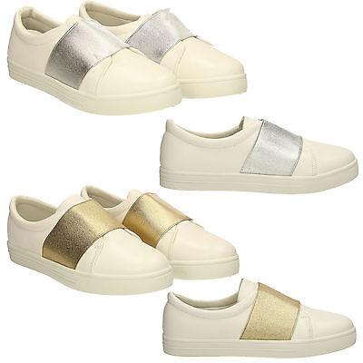 Zapatillas para mujer de cuero sintético Slip On Plimsolls Bombas Zapatos Planos Zapatillas