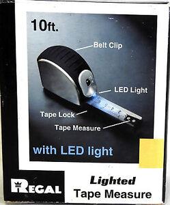 Heavy duty lighted tape measure with led light 10 ft belt clip ebay image is loading heavy duty lighted tape measure with led light aloadofball Images